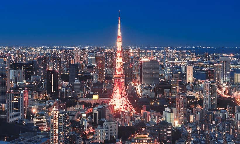 空から見た東京タワー周辺