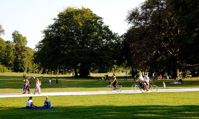 公園で寛ぐ人々