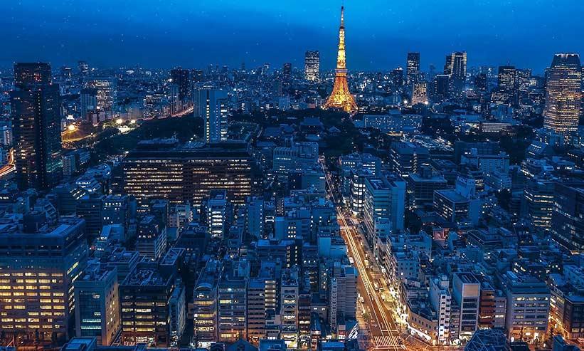 空から見た東京の街並み