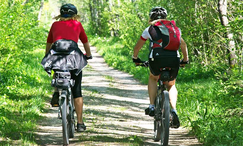 サイクリングをしているカップルの後ろ姿