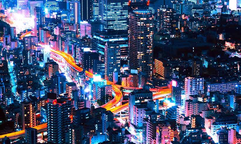 空から見た東京の夜景